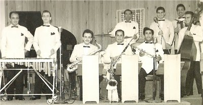 Paul Mauriat, 2nd from left to right, with Marcel Bianchi, 1 left, in 1948, 49